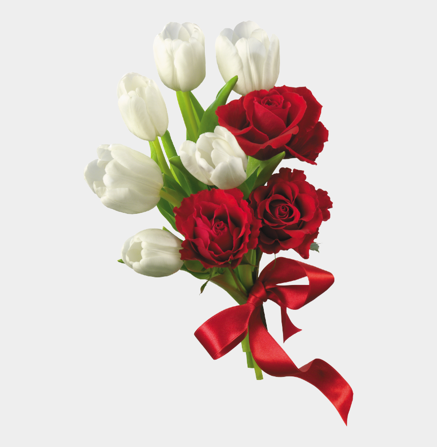 tulips clipart, Cartoons - White Tulips And Red Roses Flower Bouquet Png Clipart - Best Wish For New Business