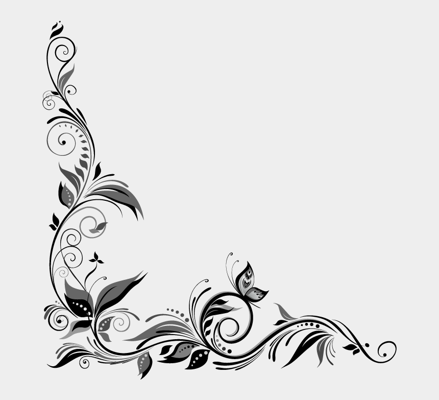 free corner scroll design clip art, Cartoons - Black And White Wedding Rose Border Clip Art