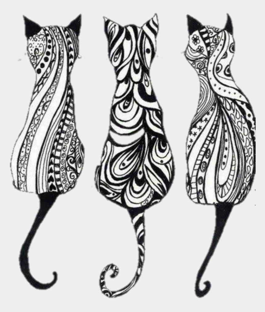 clip art of cats, Cartoons - #art #cats #edits #meow #stickers - Cat Zentangle Coloring Page