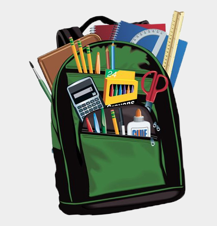 back to school supplies clip art, Cartoons - Backpack Filled With School Supplies