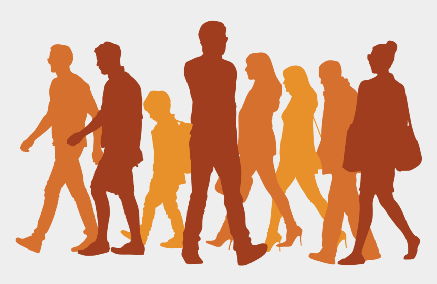 group of people walking clip art, Cartoons - Silhouette Walking Icon