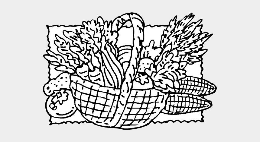 thanksgiving clip art for kids, Cartoons - Png Colouring Basket With Vegetables