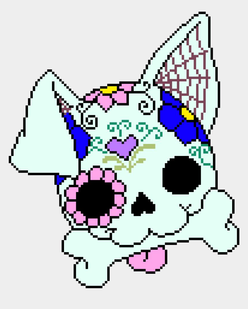simple sugar skull clip art, Cartoons - Sugar Skull Dog - Sugar Skull Dog Cross Stitch Pattern