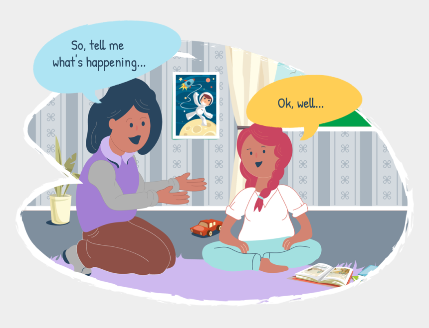 conversation between two people clipart, Cartoons - Mother And Daughter Talking Together - Communication Between Child And Parents