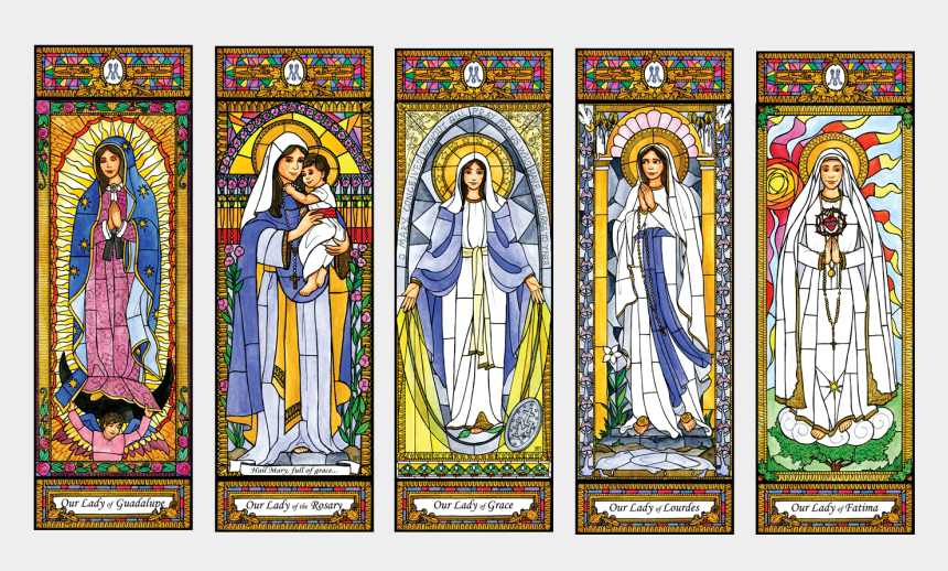 our lady of fatima clipart, Cartoons - Stained Glass Mary Set 1 Llco083 - Stained Glass