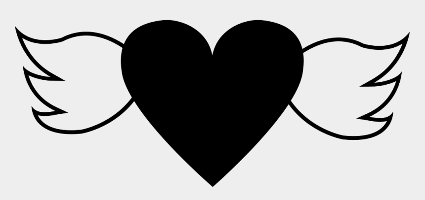 heart with wings clip art, Cartoons - Heart And Wings Tattoo - Black Heart With Wings Png