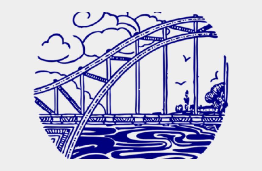 golden gate bridge drawing clip art, Cartoons - Overpass Bridge - Black And White Line Art Bridge Clipart