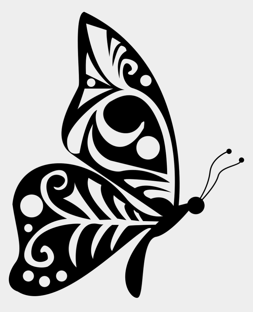 tribal clip art free, Cartoons - Tribal Wings Design Butterfly Side View - Side View Butterfly Silhouette