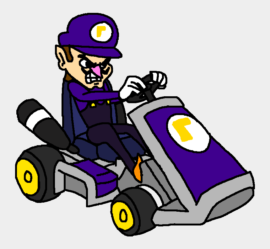 go kart clip art free, Cartoons - Mario Kart Art Day - Mario Kart Waluigi Png