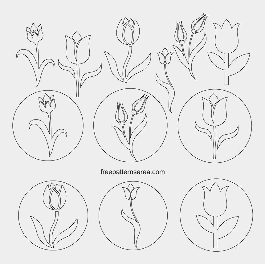 tulip borders clip art, Cartoons - Tulip Stencil Free - Sketch