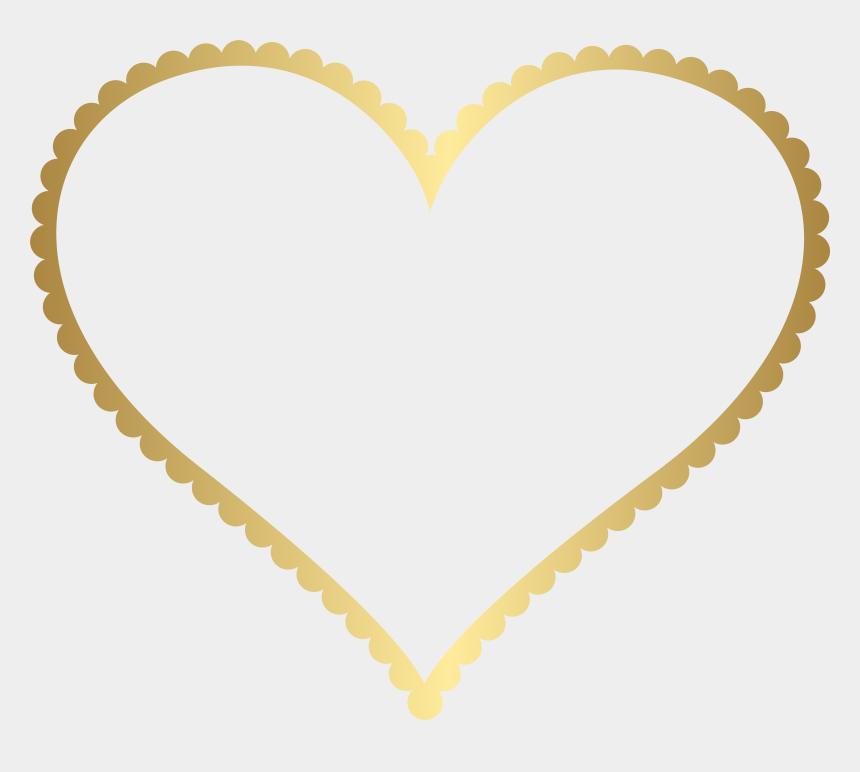 gold glitter crown clipart, Cartoons - Gold Heart Border Frame Transparent Png Clip Art