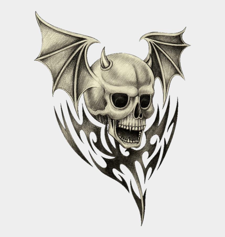 evil skull clipart, Cartoons - #tattoo #skull #design #wings #evil #cool #idea - Skull W Wings Drawing
