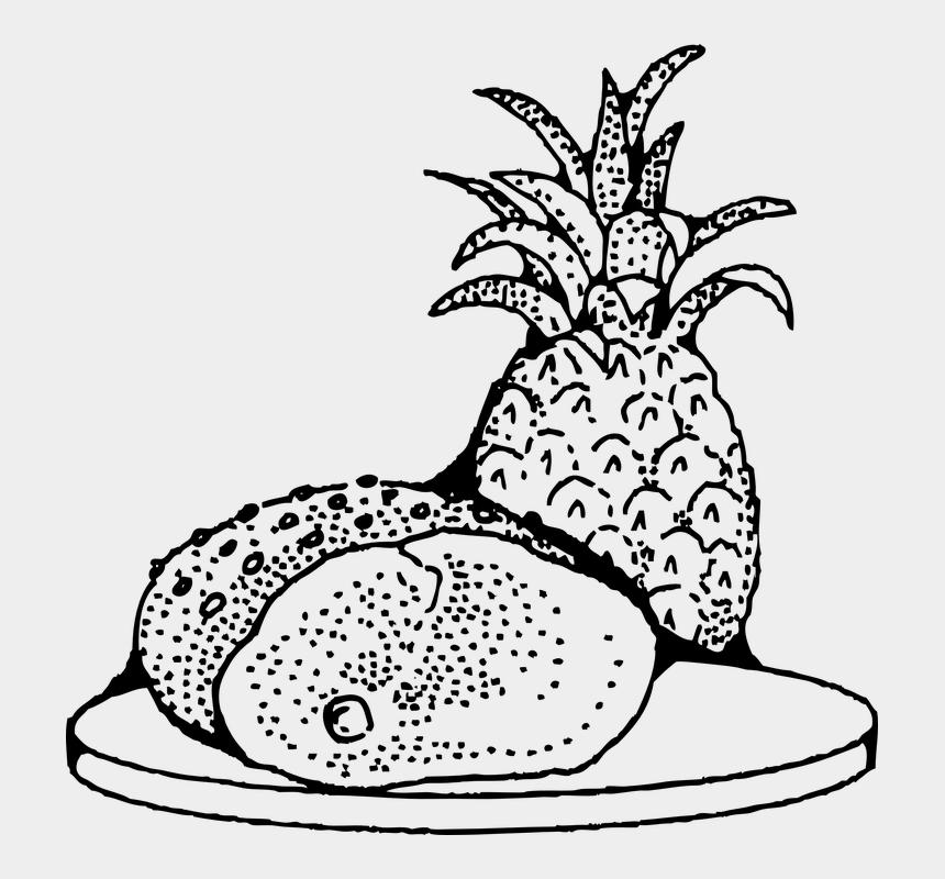 cooking ingredients clipart, Cartoons - Food Meat Pork Ham Pineapple Ingredients Cooking - Sour Foods Black & White