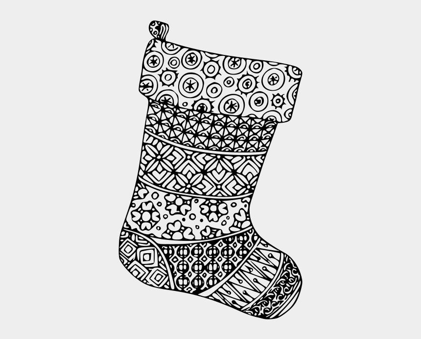 christmas socks clip art, Cartoons - Christmas Stocking Mandala - Line Art