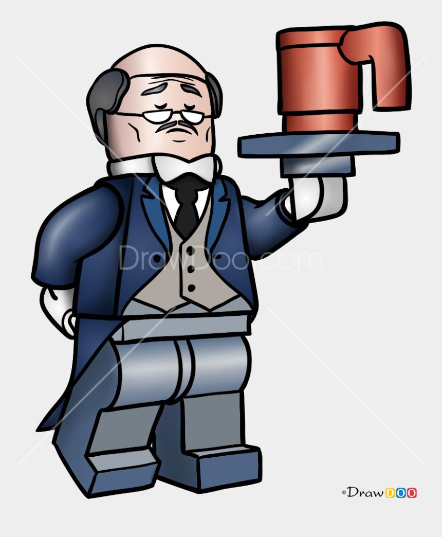 lego head clip art, Cartoons - Draw Lego Alfred Clipart , Png Download - Alfred Lego Batman