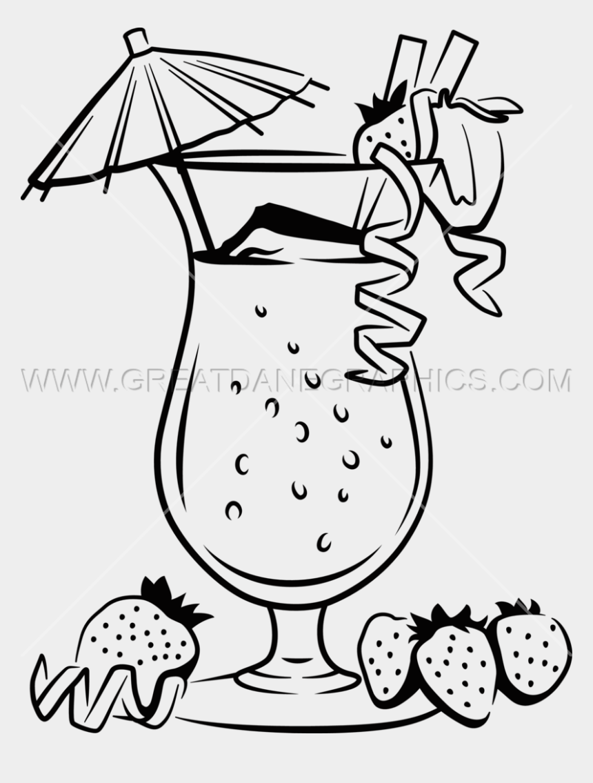 tropical drink clip art, Cartoons - Drinks Clipart Black And White - Drink Line Art Png