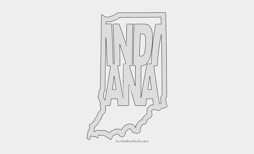 scroll border clipart free, Cartoons - Indiana Map Outline Shape State Stencil Clip Art Scroll