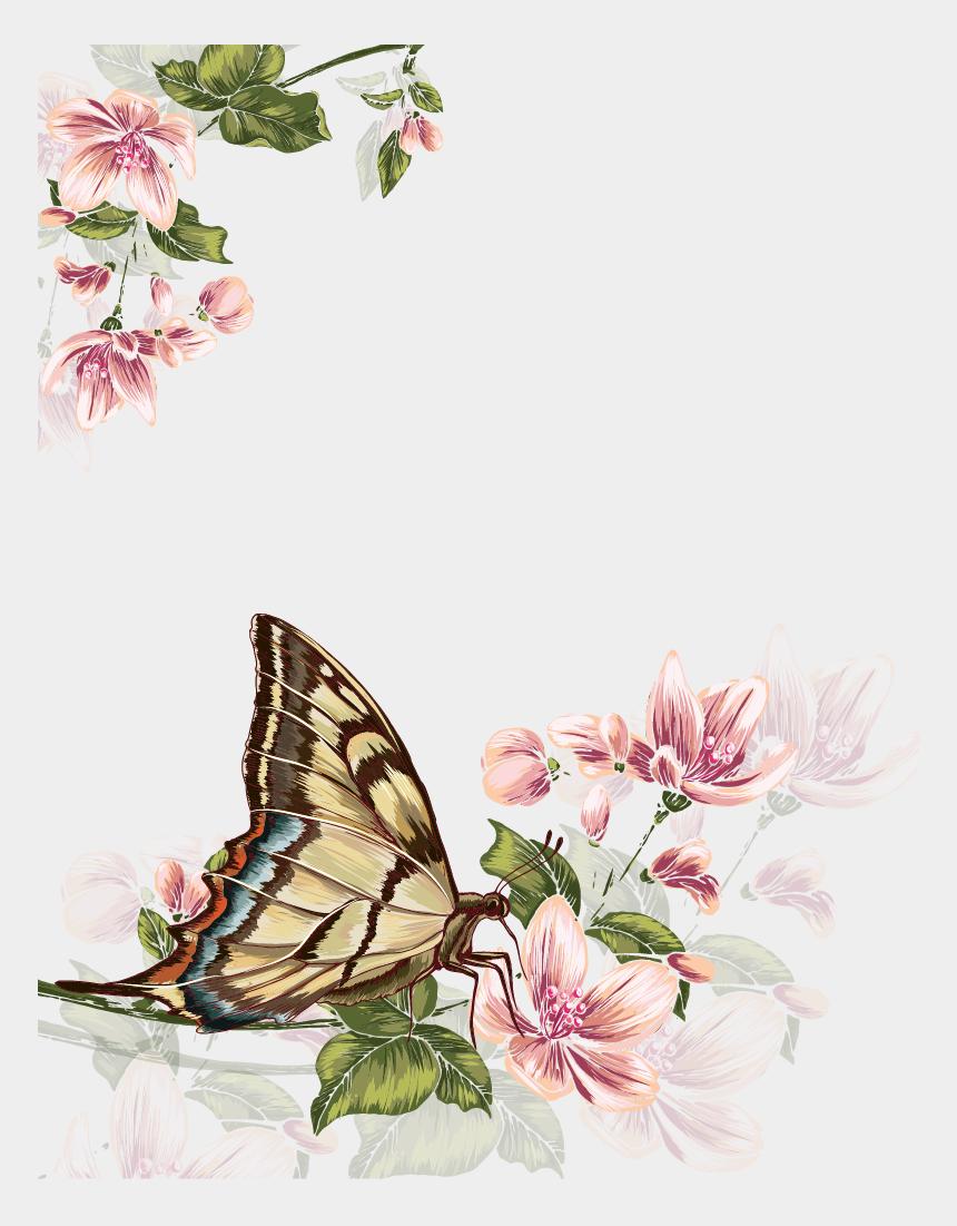 butterfly flower clipart, Cartoons - Ai Vector Watercolour Butterfly - Butterfly And Flowers Watercolor