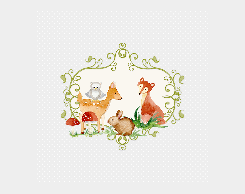cute woodland creatures clipart, Cartoons - Bleed Area May Not Be Visible - Woodland Fairies And Animals