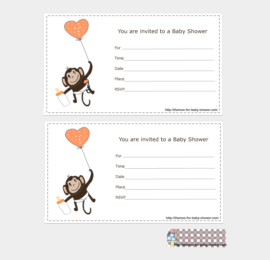 you are invited clipart, Cartoons - Cute Monkey Png - Boy Free Template For Blank Baby Shower Invitation