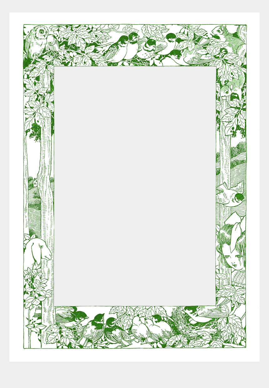 woodland clipart, Cartoons - Woodland Clipart Free - Transparent Background Vintage Page Frame Clipart