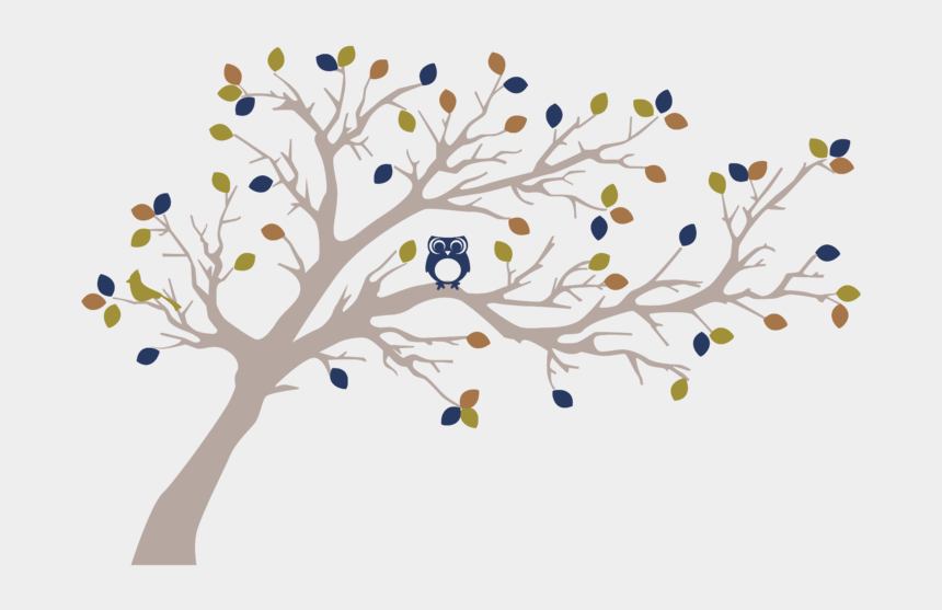 woodland clipart, Cartoons - Woodland Tree With Owl - Silhouettes Of Trees