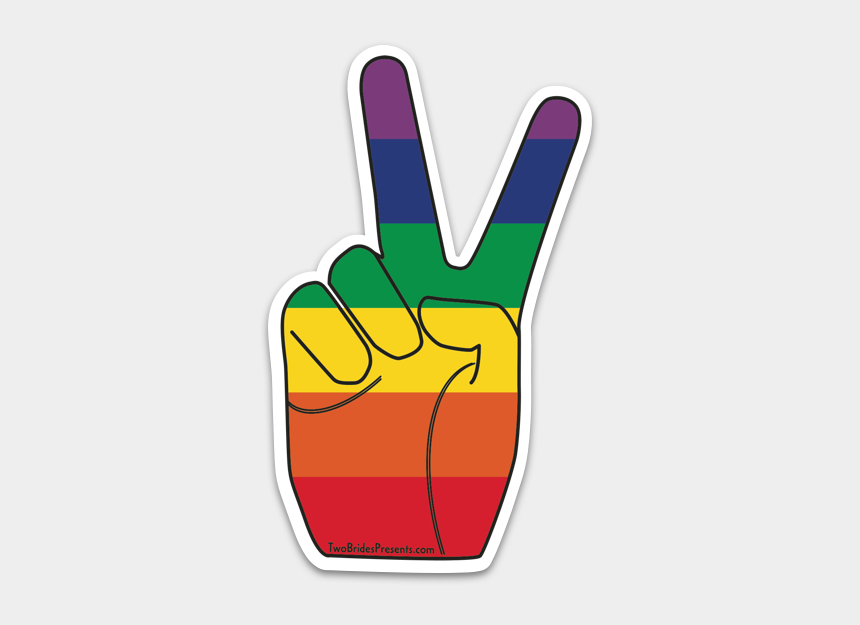 "rainbow peace sign clip art, Cartoons - Rainbow Pride Peace Sign Sticker""  Class=""lazyload - Peace Sign Finger Rainbow"