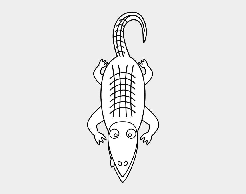 alligator clip art outline, Cartoons - Alligator Line Art - Clipart Alligators Black And White