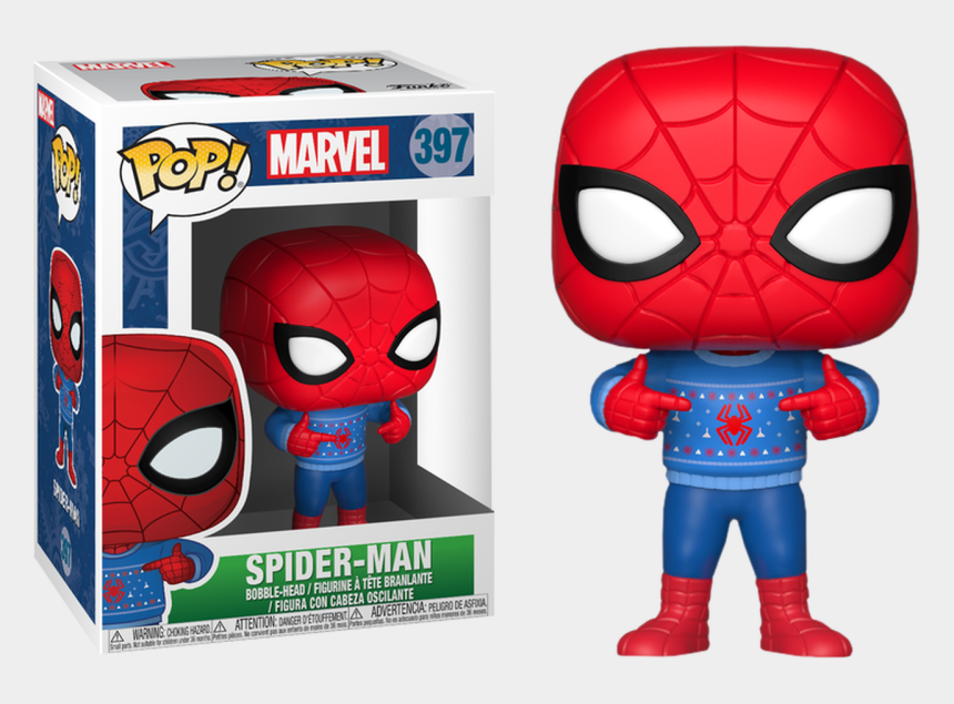 ugly holiday sweater clipart, Cartoons - Marvel Holiday Pop In Ugly Christmas Sweater Vinyl - Spiderman Pop Figure