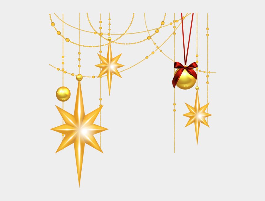 vintage christmas ornaments clipart, Cartoons - Transparent Christmas Gold Stars And Ornament Clipart - Christmas Star Background Png