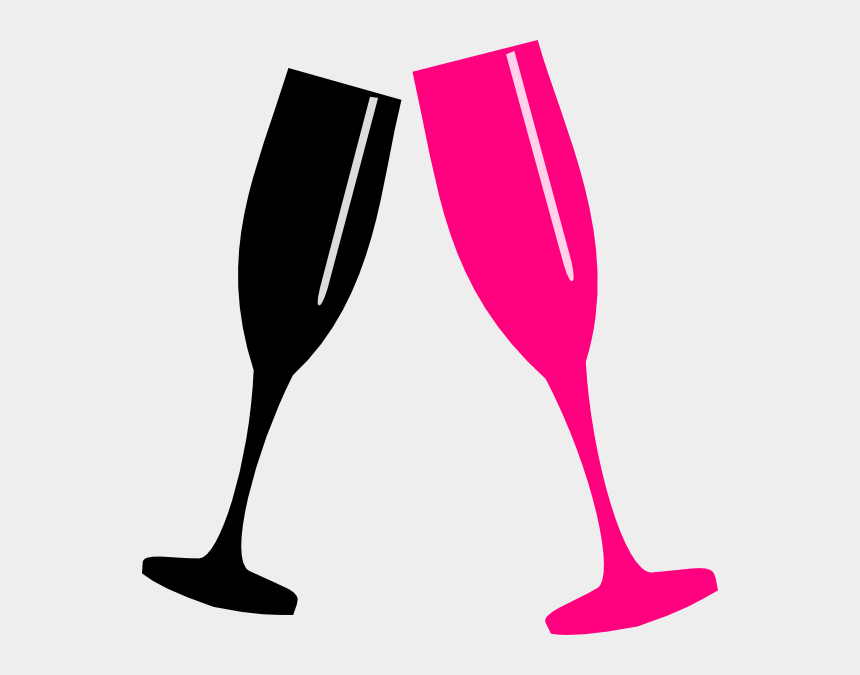 champagne glasses clipart black, Cartoons - Pink Champagne Glasses Clipart