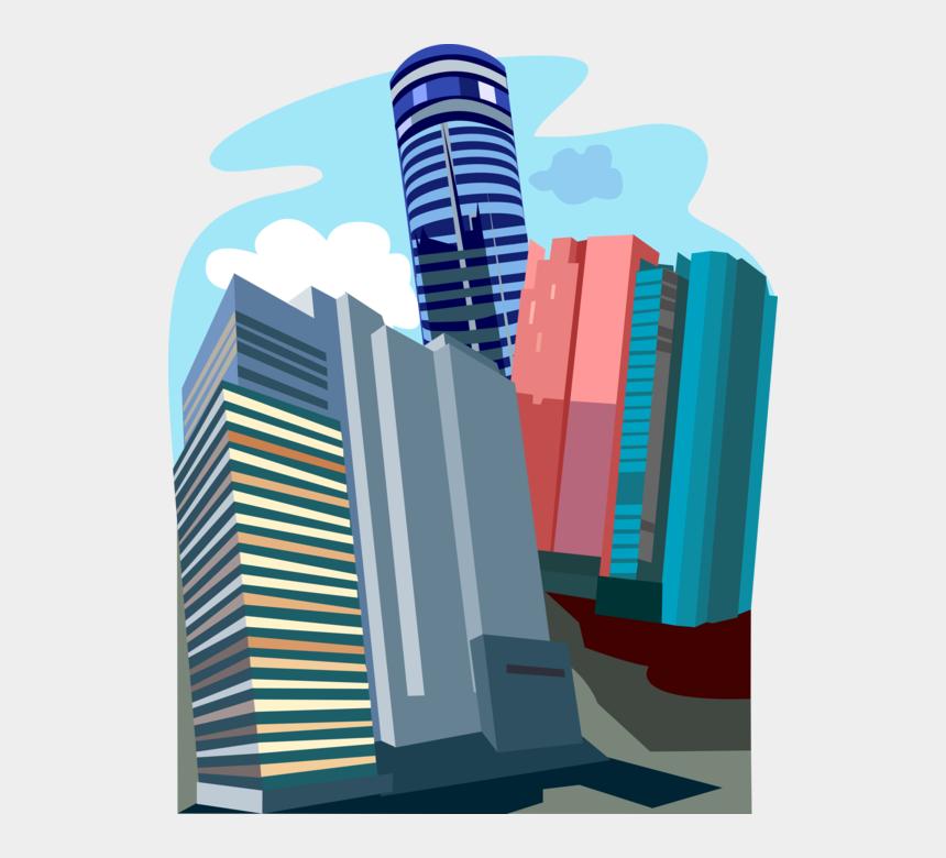 blue office building clipart, Cartoons - Vector Illustration Of Hong Kong Office Skyscraper