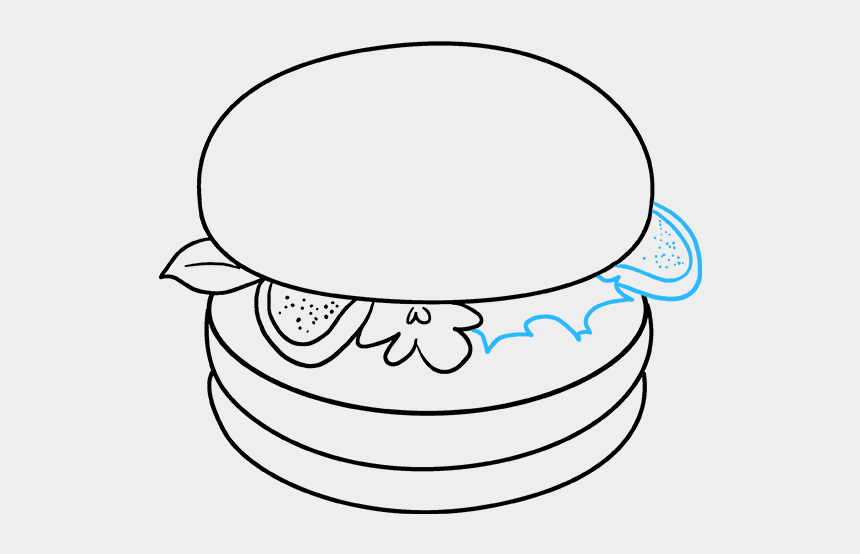 burger clipart drawings, Cartoons - How To Draw Burger - Draw A Cartoon Burger
