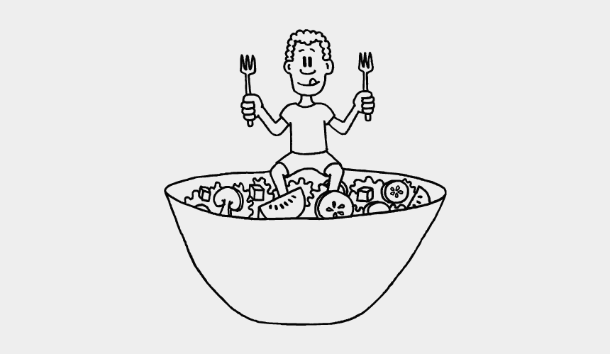 """child eating breakfast clipart black and white, Cartoons - Eating Well Doesn""""t Mean You Can Eat As Much As You - Eat Well Cartoon Black And White"""