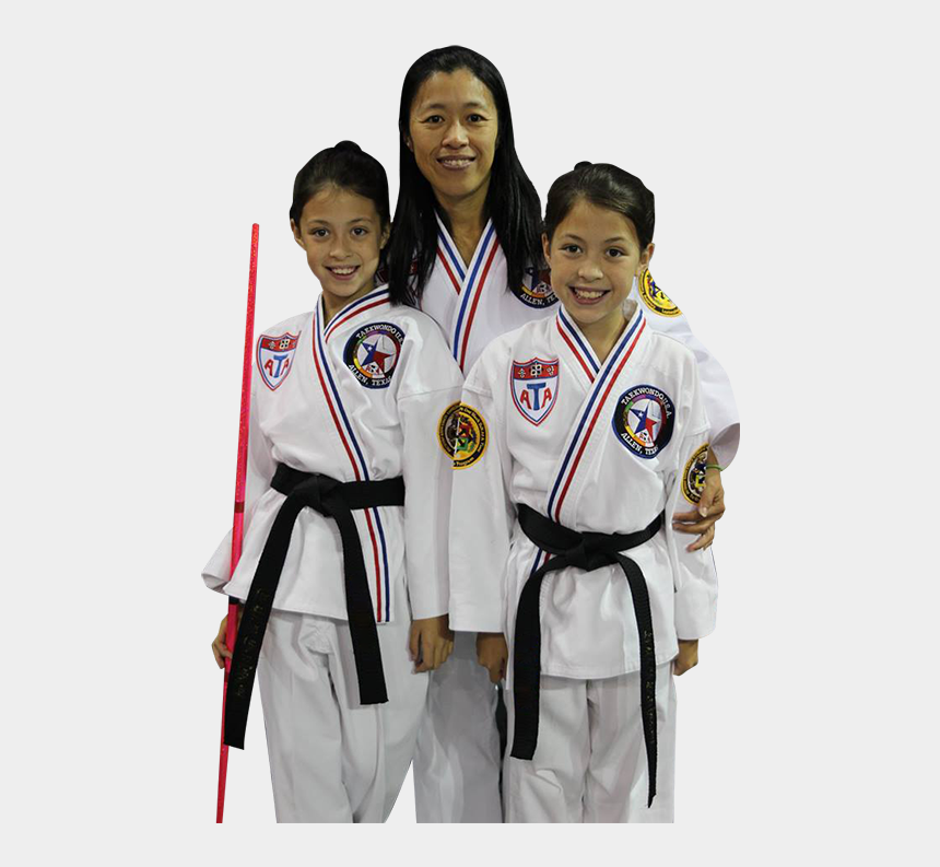 taekwondo uniform clipart, Cartoons - Mother And Two Daughters In Karate Uniforms - Taekwondo