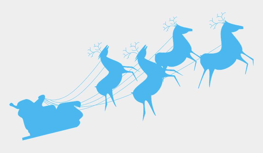 santa on his sleigh with reindeer clipart, Cartoons - Christmas Sleigh