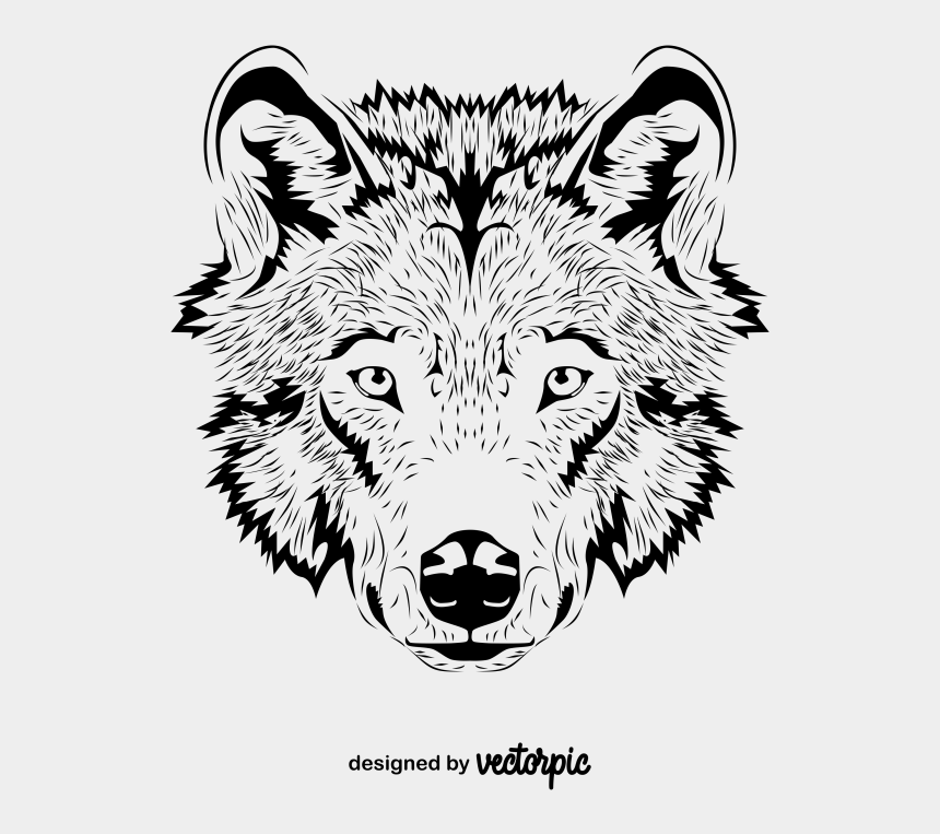 wolves clipart head, Cartoons - Line Art