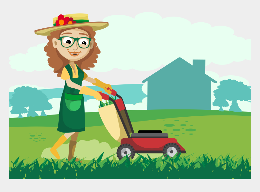free clipart man mowing lawn, Cartoons - Repair Lawn Vector Woman Png Download - Cartoon Woman Mowing Lawn
