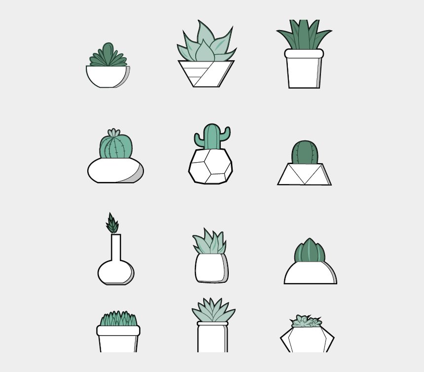 colorful boho clipart, Cartoons - Succulent Icons By Student - Succulent Icon