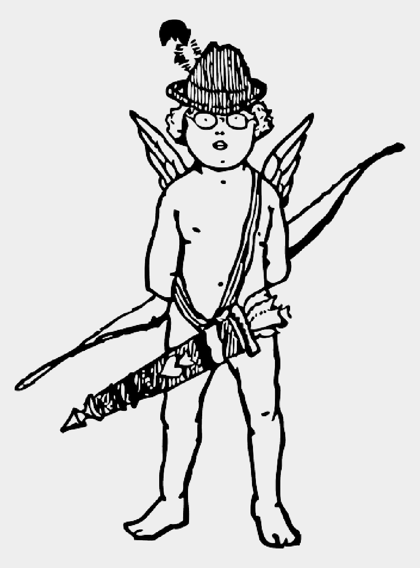 bow and arrow clipart black and white, Cartoons - Black, Arrow, Boy, White, Hat, Wings, Bow, Cupid - - Cupid With Bow Drawing