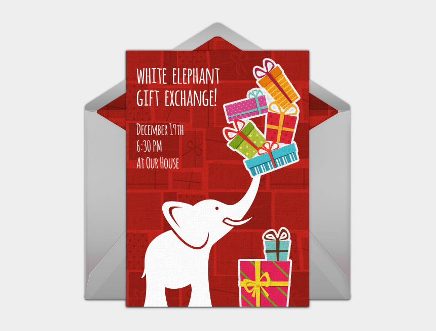 exchange clipart, Cartoons - White Elephant Gift Exchange Online Invitation - Farewell Chalkboard