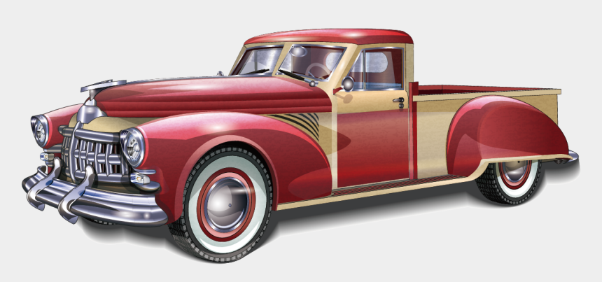 vintage red truck with christmas tree clipart, Cartoons - Sports Car Pickup Truck Antique Car - Vintage Trucks