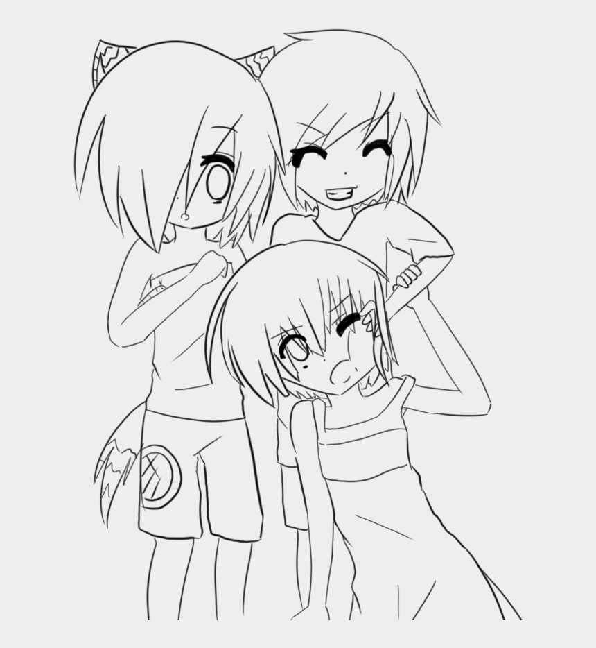 anime clipart easy, Cartoons - Anime Girl Friends Cartoon Coloring Pages - Neko Anime Coloring Pages For Girls