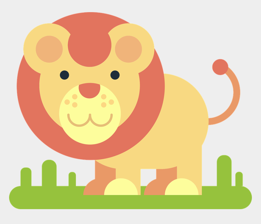 cute lion cartoon smiling clipart, Cartoons - Lion, Animal, Comic Drawing, Simply, Minimalist, Funny - Minimalist Vector Drawing