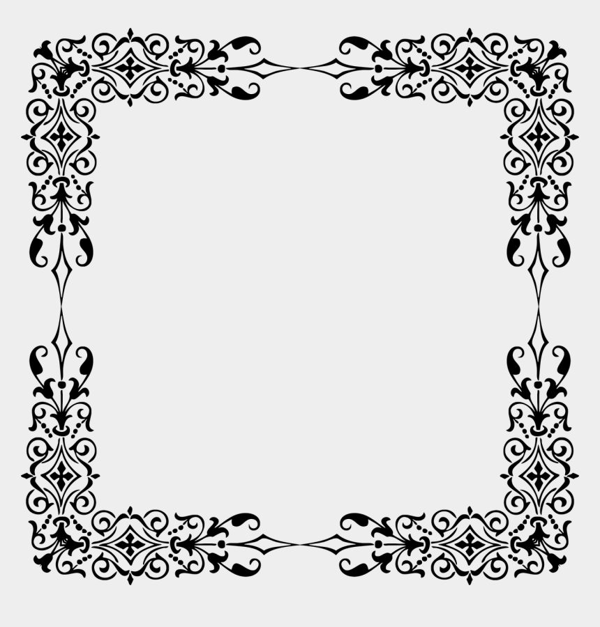 wheat clipart black and white border, Cartoons - Bone Border Png - Vintage Frame White Png