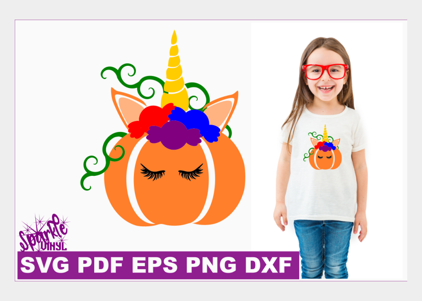 unicorn face clipart, Cartoons - Free Unicorn Pumpking With Candy Svg Dxf Eps Png Pdf - Small Girl T Shirt