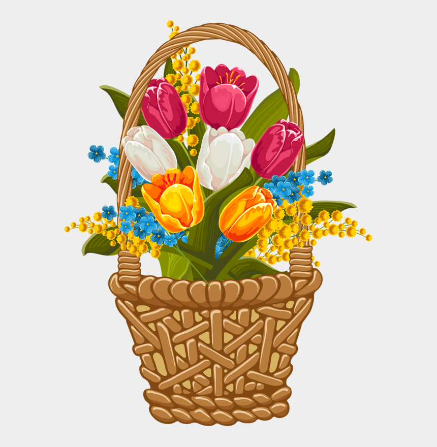 tulips clipart, Cartoons - Фотки Tulip Clipart, Flower Clipart, Hollyhock, Easter - Clip Art Basket Of Easter Flowers