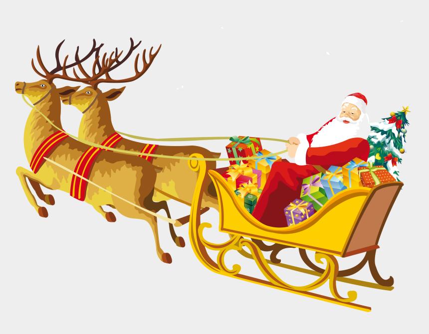 sledding clipart, Cartoons - Sleigh Clipart Santa's Slay - Merry Christmas With Santa Claus