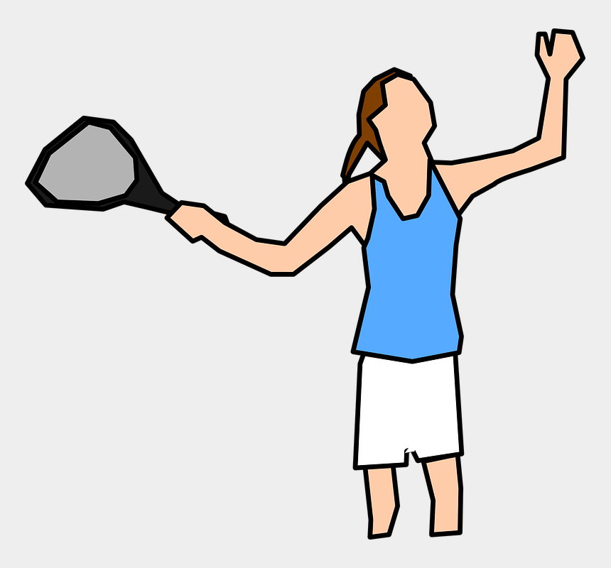 tennis ball clipart, Cartoons - Tennis Player Woman Serve - Female Cartoon Tennis Player
