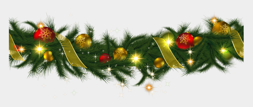 Transparent Christmas Pine Garland With Lights Clipart - Christmas Decorations Png Transparent
